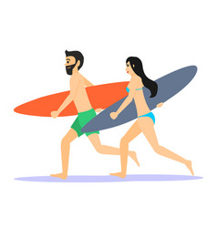 Two male and female surfer running man and woman vector