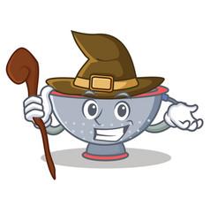 Witch colander utensil character cartoon vector