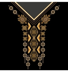 Black and golden colors ethnic flowers neck vector