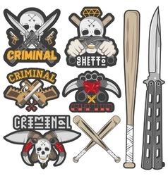 Collection of gang and criminal badges vector