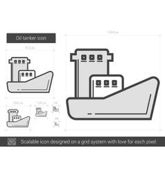 Oil tanker line icon vector