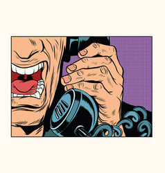 Angry man talking on the phone vector