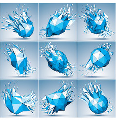 Collection of 3d faceted blue cybernetic figures vector