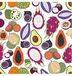Exotic fruits seamless pattern vector