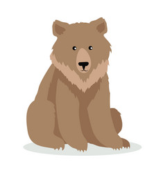Brown bear cartoon in flat design vector