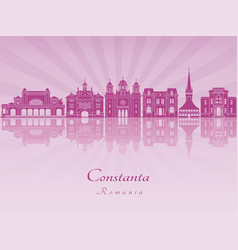 constanta skyline in purple radiant orchid vector image