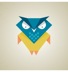 Cute little blue and yellow cartoon owl vector
