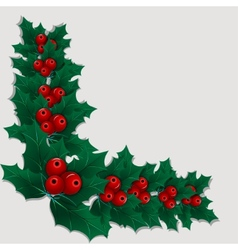 Christmas decorative corner element with holly vector