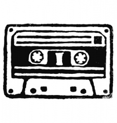 Audio cassette stamp vector