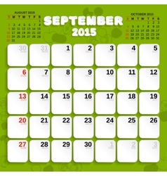 September month calendar 2015 vector