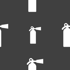 Extinguisher icon sign seamless pattern on a gray vector