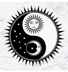 Yin yang symbol with moon and sun vector