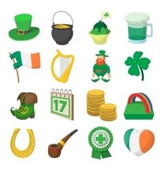 St Patrick Day cartoon icons vector image