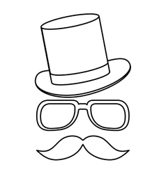Hat with glasses and mustache vector