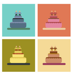 Assembly flat icons gay wedding cake vector