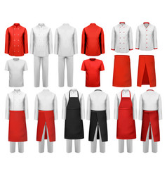 big set of culinary clothing white and red suits vector image vector image