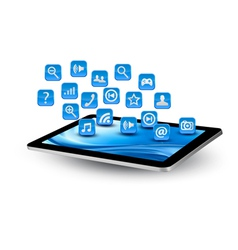 Blue tablet application icons vector image