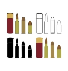 Bullets game set Shotgun rifle pistol vector image vector image
