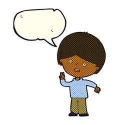 cartoon unhappy boy giving peace sign with speech vector image