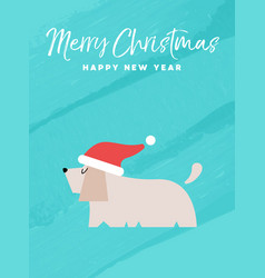christmas and new year holiday dog greeting card vector image vector image
