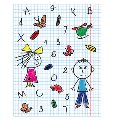 colouring school kit on notebook sheet vector image