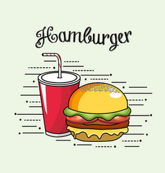 Delicous hamburger with soda in plastic cup vector