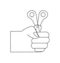 Dotted shape hand with scissors school tool vector