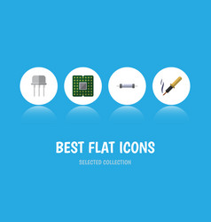 Flat icon electronics set of repair resistor vector