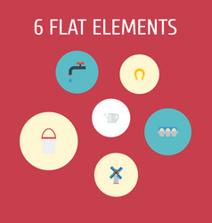 flat icons faucet bailer tray of eggs and other vector image