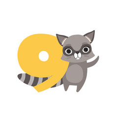 Funny raccoon animal and number nine birthday vector