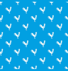 gallic rooster pattern seamless blue vector image