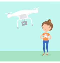 Girl piloted a drone vector image vector image