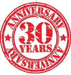 Grunge 30 years anniversary rubber stamp vector