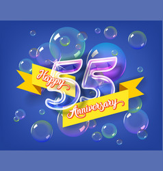 Happy 55th anniversary glass bulb numbers set vector