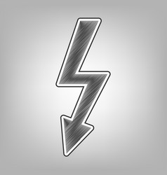 High voltage danger sign pencil sketch vector