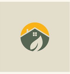 house eco leaf logo vector image