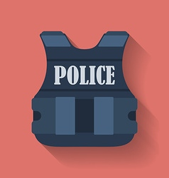 Icon of police flak jacket or bulletproof vest vector image