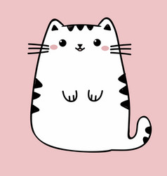 Kawaii cute fat white cat anime style vector