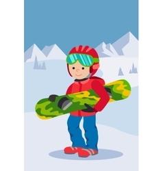 Kid child boy with snowboard winter sport jacket vector image