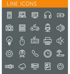 Line icons set Technology media objects web design vector image