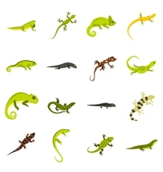 Lizard icons set flat style vector image
