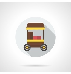 Mobile cafe flat color round icon vector image vector image