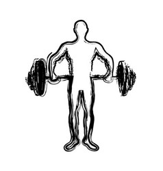 monochrome sketch of man weightlifting vector image vector image