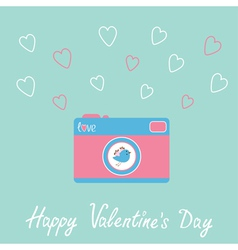 Photo camera with bird and hearts happy valentines vector