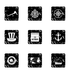Pioneer icons set grunge style vector