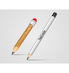 Realistic Silver and wood Pencil vector image
