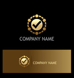 Round check mark gold business logo vector