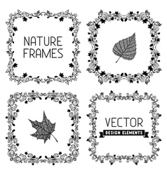 set of calligraphic nature frames with leaves vector image