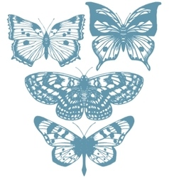 set of hand drawn butterflies vector image vector image