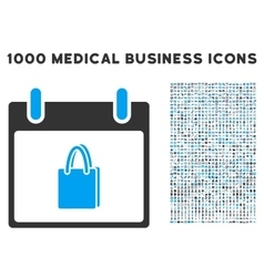 Shopping bag calendar day icon with 1000 medical vector